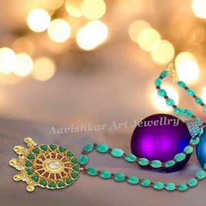 Kundan jadau work pendant set with beautiful emarald mala